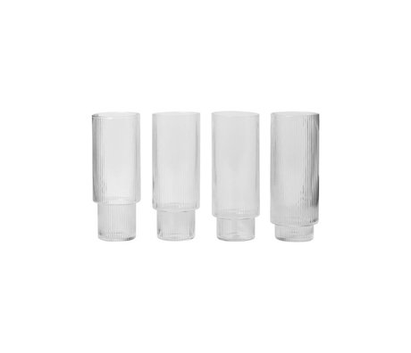 Ferm Living Long drink glass Ripple transparent glass Ø7x14cm set of 4