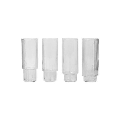 Ferm Living Longdrinkglas ondulation de verre transparent Ø7x14cm set of 4