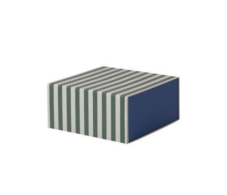 Ferm Living Storage box Square green white cardboard 23x11,1x23cm