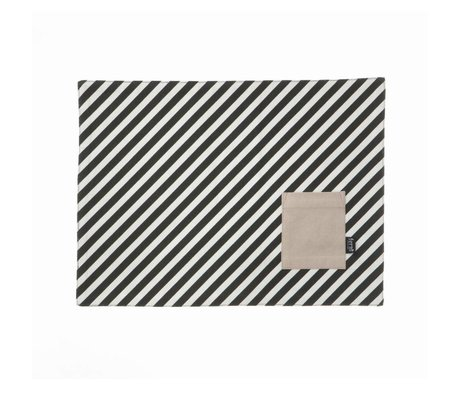 Ferm Living Napperon en coton à rayures blanc noir Lot de 2 44x33cm