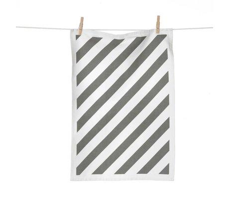 Ferm Living Theedoek Stripe grijs wit katoen 50x70cm