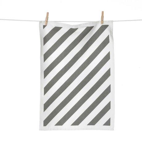 Ferm Living Torchon Stripe gris blanc coton 50x70cm