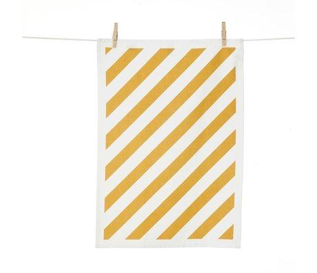 Ferm Living Theedoek Stripe geel wit katoen 50x70cm
