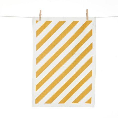 Ferm Living Coton blanc à rayures torchon jaune 50x70cm