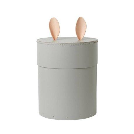 Ferm Living Boîte de rangement Cuir de lapin gris carton Ø30x35cm
