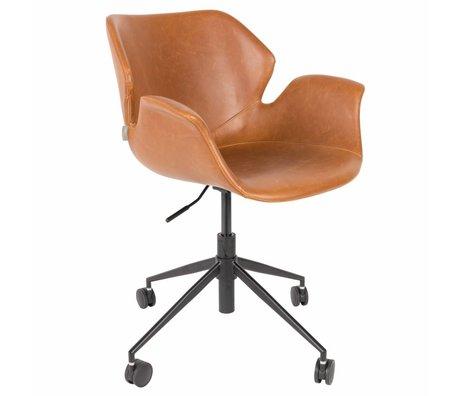 Zuiver Chaise de bureau Nikki marron PU cuir 77x77,5 / 90cm