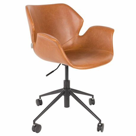 Zuiver Office chair Nikki brown PU leather 77x77,5 / 90cm