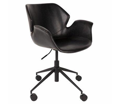 Zuiver Bureaustoel Nikki zwart PU leer 77x77,5/90cm