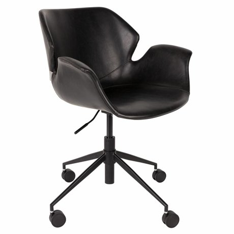 Zuiver Chaise de bureau Nikki noir PU cuir 77x77,5 / 90cm