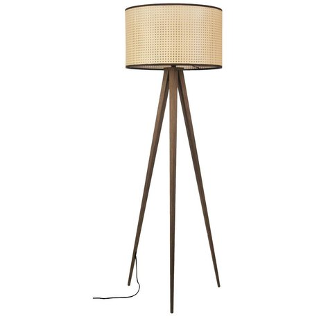 Zuiver Lampadaire Trépied sangle marron plastique bois 50x157cm