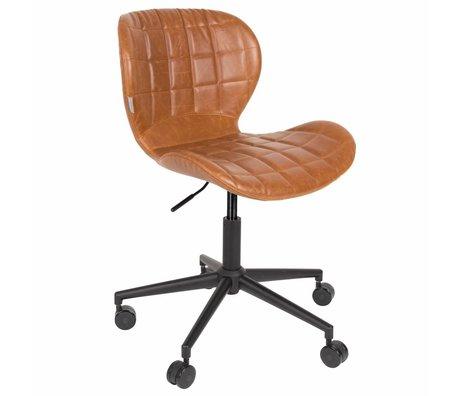 Zuiver Bureaustoel OMG LL bruin PU leer 65x65x76/88cm