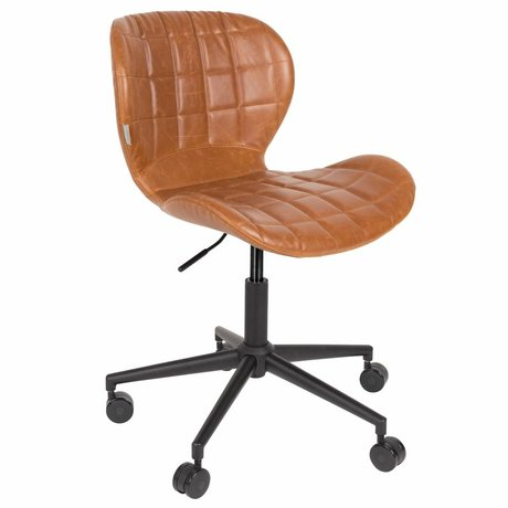 Zuiver Office chair OMG LL brown PU leather 65x65x76 / 88cm