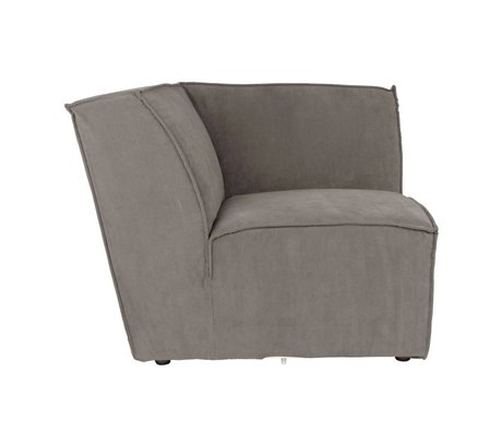 Zuiver Sofa Corner Element James grau Rippe Stoff 91x91x74cm