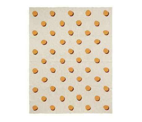 Ferm Living Deken Double Dot wit geel textiel 160x120cm