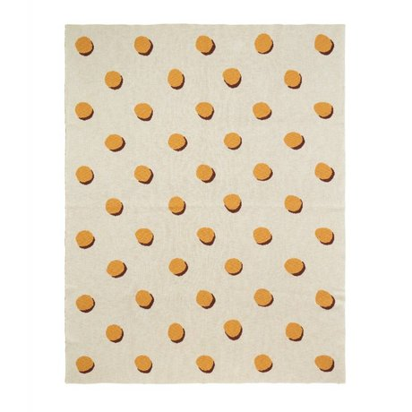 Ferm Living Blanket Double Dot white yellow textile 160x120cm