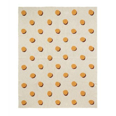 Ferm Living Couverture Double Dot blanc textile jaune 160x120cm