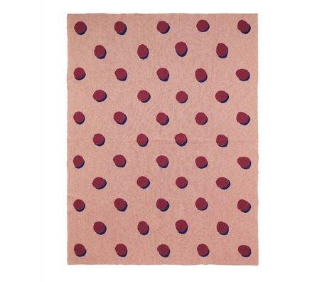 Ferm Living Decke Double Dot rosa Bordeaux Textil 160x120cm