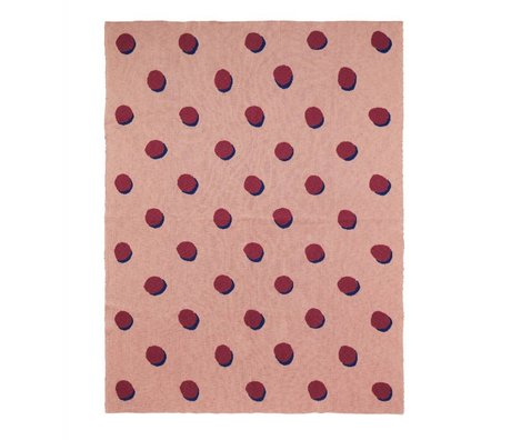 Ferm Living Deken Double Dot roze bordeaux textiel 160x120cm