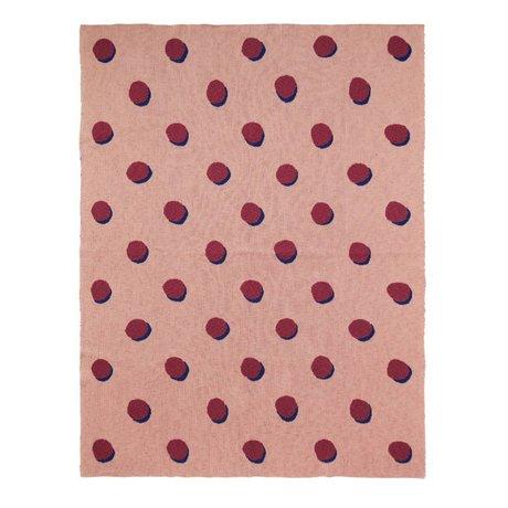 Ferm Living Blanket Double Dot pink bordeaux textile 160x120cm