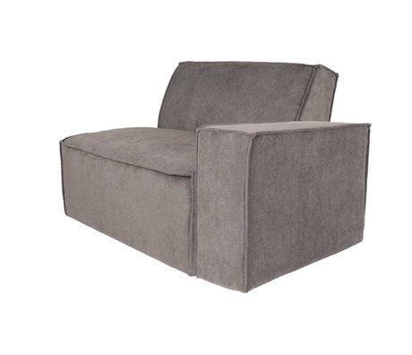 Zuiver Sofa Element James Arm rechts grauer Rippstoff 112x91x74cm