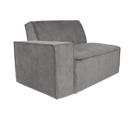 Zuiver Sofa Element James Arm links grauer Rippenstoff 112x91x74cm