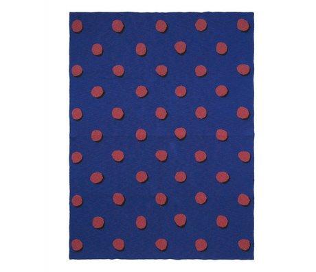 Ferm Living Couverture Double Dot bleu textile rouge 160x120cm