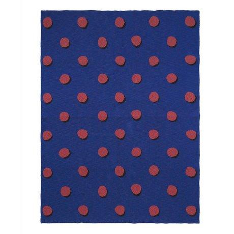 Ferm Living Deken Double Dot blauw rood textiel 160x120cm