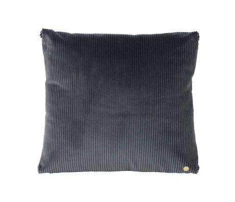 Ferm Living Coussin en velours côtelé noir 45x45cm textile gris