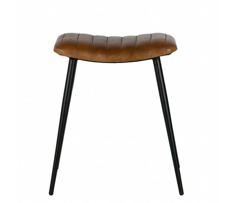 BePureHome tabouret chasse cuir vert olive 56x45x39cm