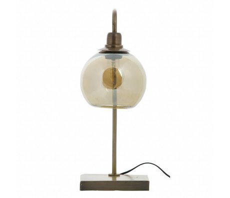 BePureHome Lampe de table en laiton lanterne métal or antique 49x19x19cm