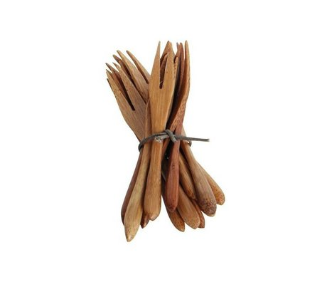 Nicolas Vahe Couverts fourche d'ensemble de 12 9cm brunes de bambou