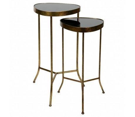 BePureHome Table d'appoint Couple en laiton métal or antique ensemble de 2