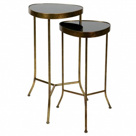 BePureHome Side table Couple antique brass gold metal set of 2