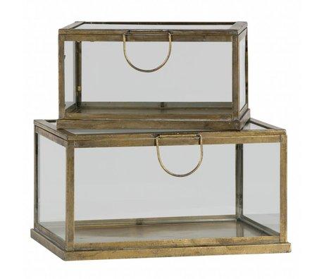 BePureHome Opbergdoos Fortune antiek brass goud metaal glas set van 2
