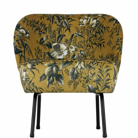 BePureHome Fauteuil moutarde Vogue Poppy velours jaune 69x57x70cm