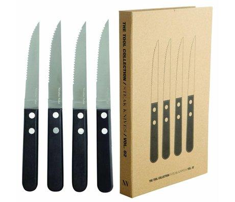 Nicolas Vahe Steakmesser Set von 4 Edelstahl und schwarzem Pakkaholz