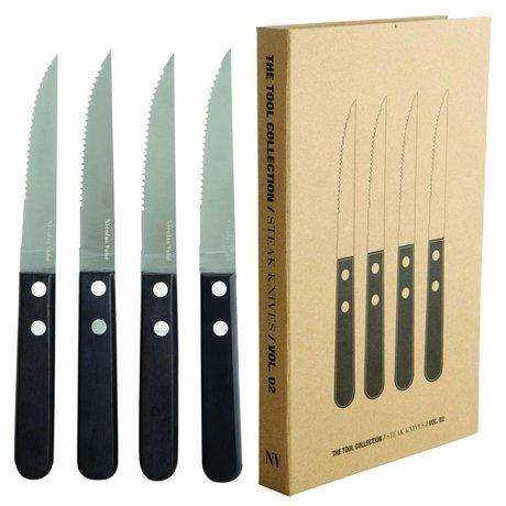 Nicolas Vahe Steak knives set of 4 stainless steel and black Pakkawood