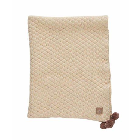 OYOY Couverture Kami vanille jaune clair rose coton bio 80x100cm
