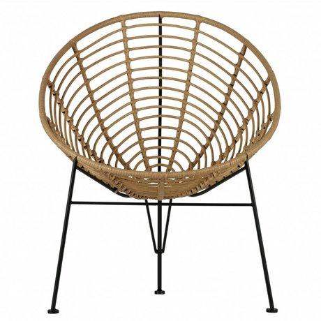 LEF collections Fauteuil / chaise de jardin Jane brun naturel synthétique 88x72x81cm