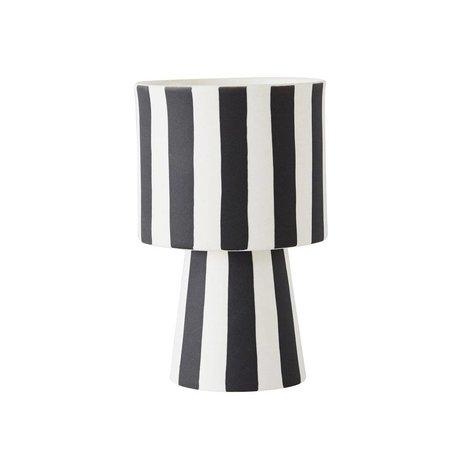 OYOY Pot Toppu small zwart wit aardewerk 15x10cm