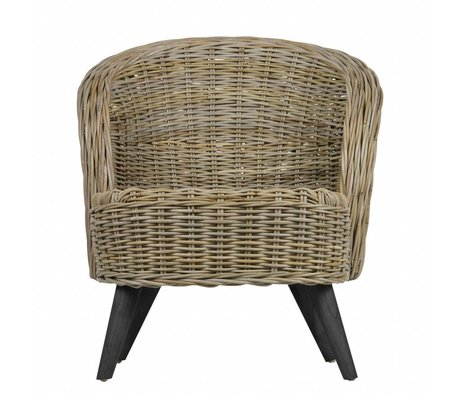 LEF collections Chaise de jardin Sara rotin naturel brun 75x68x83cm