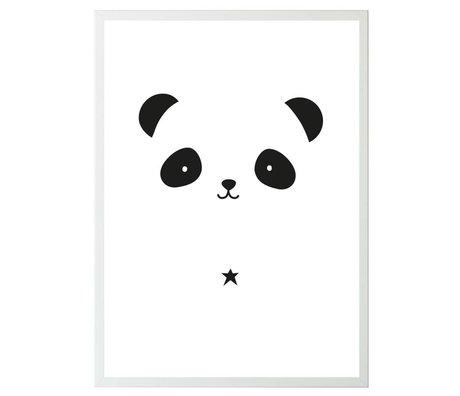 A Little Lovely Company Affiche Panda blanc papier noir 50x70cm