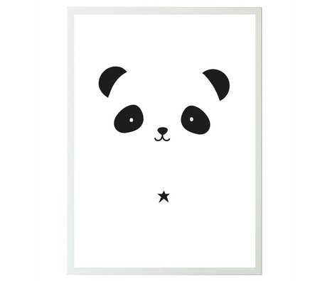 A Little Lovely Company Poster Panda wit zwart papier 50x70cm