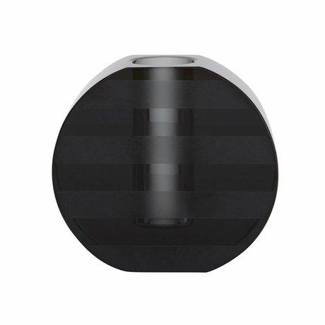 OYOY Kerzenhalter / Vase Graphic graues Glas 8x7,7cm