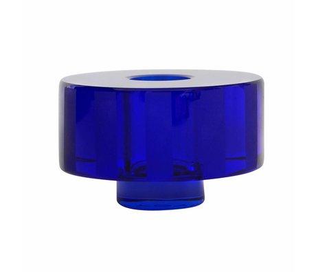 OYOY Kerzenhalter / Vase Graphic blau Glas 8x5cm
