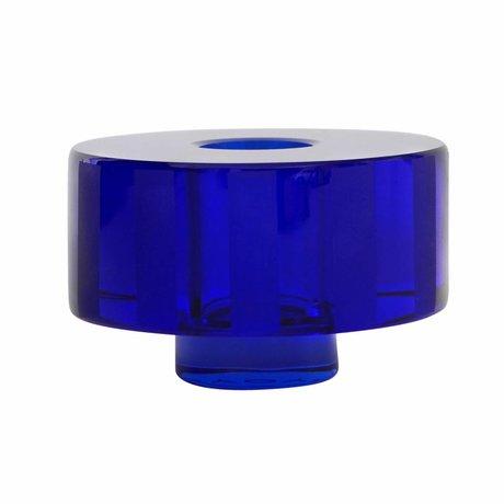OYOY Kaarsenhouder / Vaas Graphic blauw glas 8x5cm
