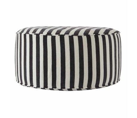 OYOY Pouf Confect round dark gray white cotton 75x34cm