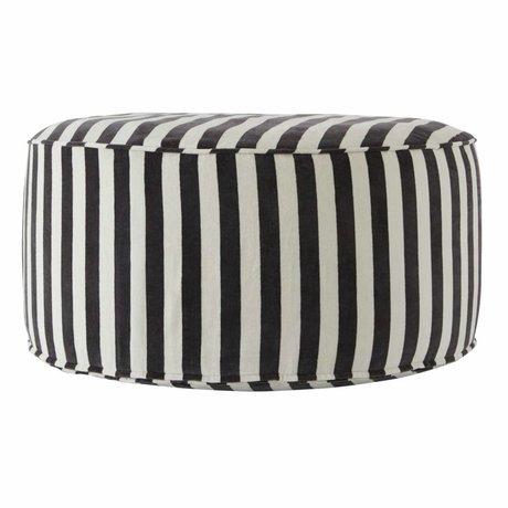 OYOY Pouf Confect rond gris foncé coton blanc 75x34cm