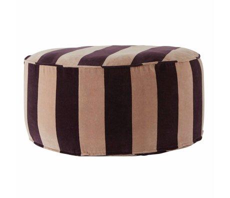 OYOY Pouf Confect round pink aubergine purple cotton 75x34cm