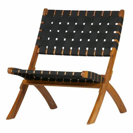 WOOOD Fauteuil / Chaise de jardin Lois bois tissé noir naturel 72,5x78x60cm
